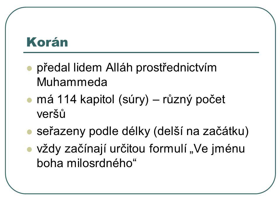 Korán předal lidem Alláh prostřednictvím Muhammeda