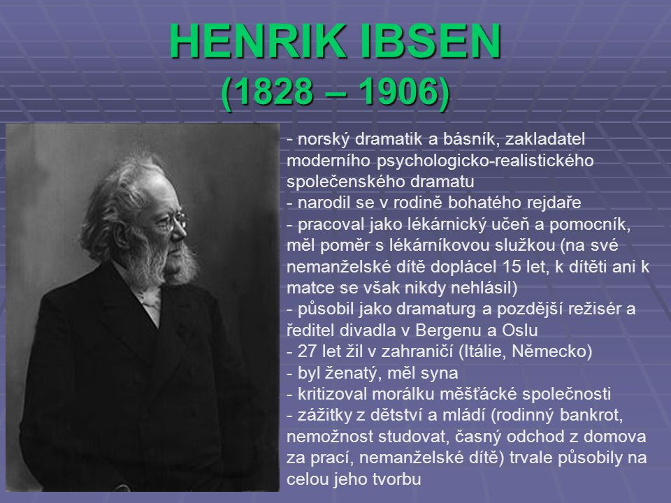 HENRIK IBSEN (1828 – 1906) norský dramatik a básník, zakladatel moderního psychologicko-realistického společenského dramatu.