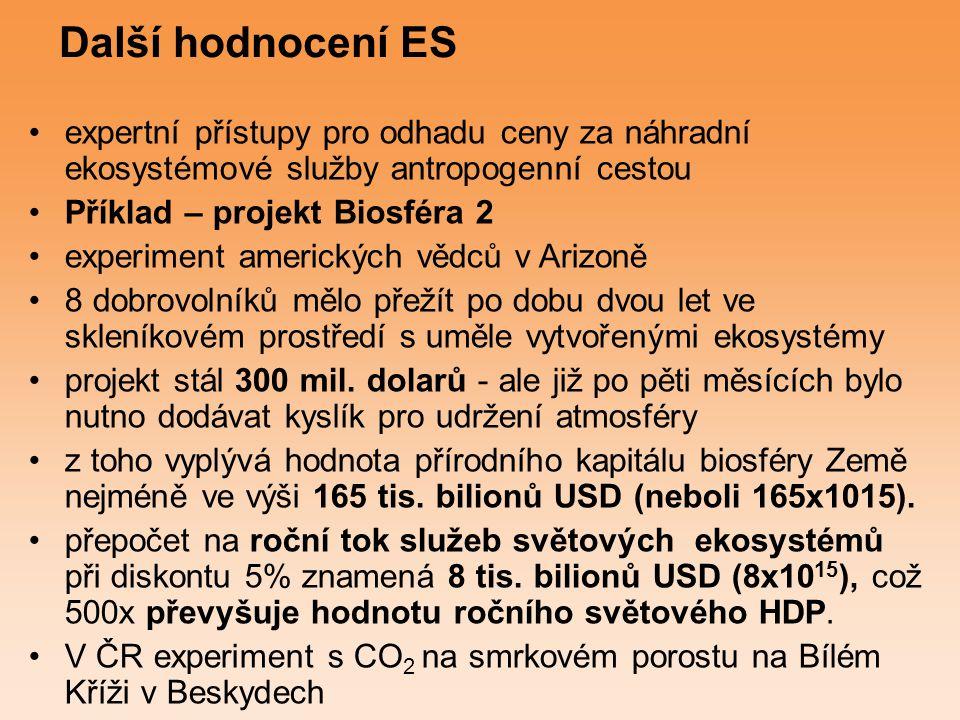 Další hodnocení ES expertní přístupy pro odhadu ceny za náhradní ekosystémové služby antropogenní cestou.