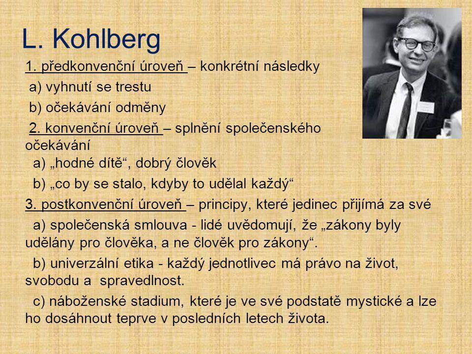 L. Kohlberg 1. předkonvenční úroveň – konkrétní následky