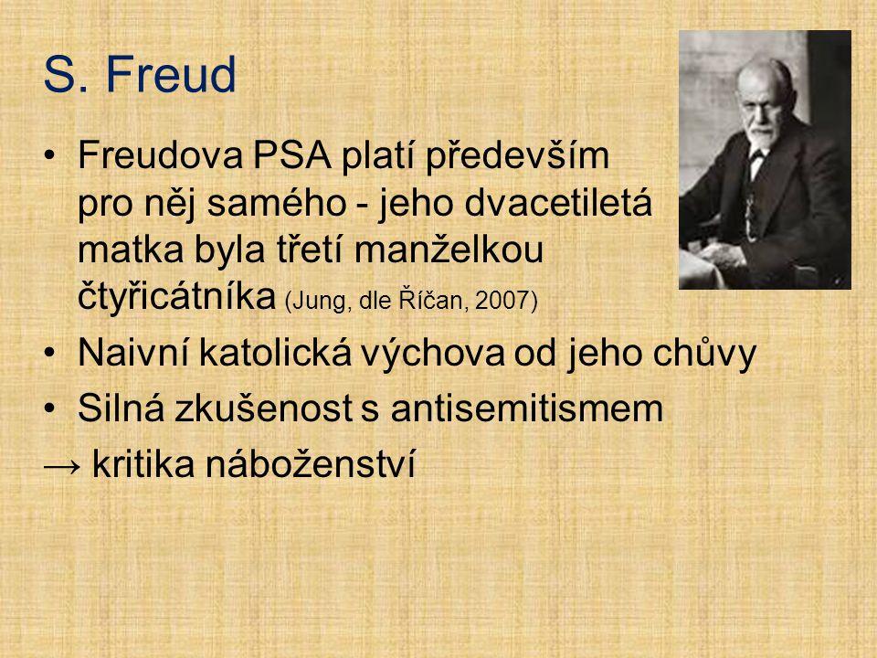 S. Freud Freudova PSA platí především pro něj samého - jeho dvacetiletá matka byla třetí manželkou čtyřicátníka (Jung, dle Říčan, 2007)