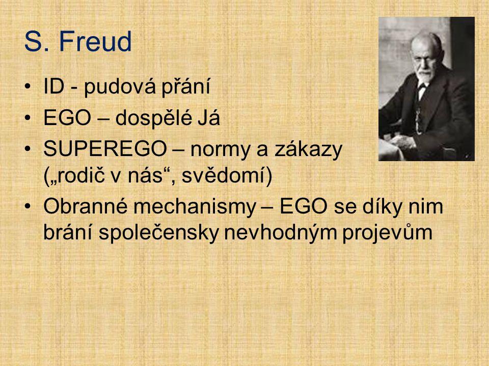 S. Freud ID - pudová přání EGO – dospělé Já