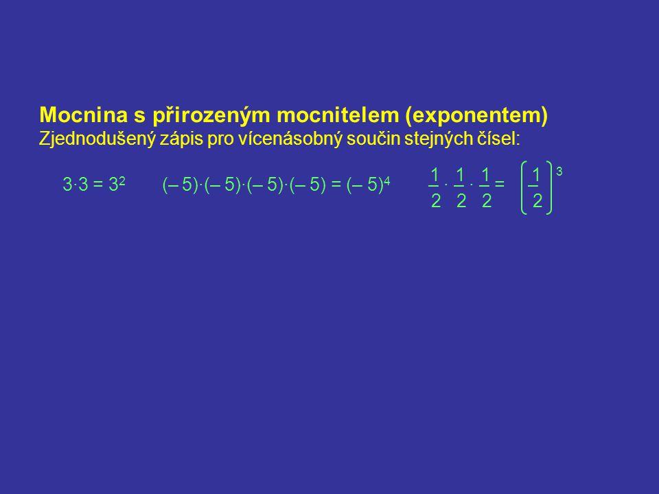 Mocnina s přirozeným mocnitelem (exponentem)