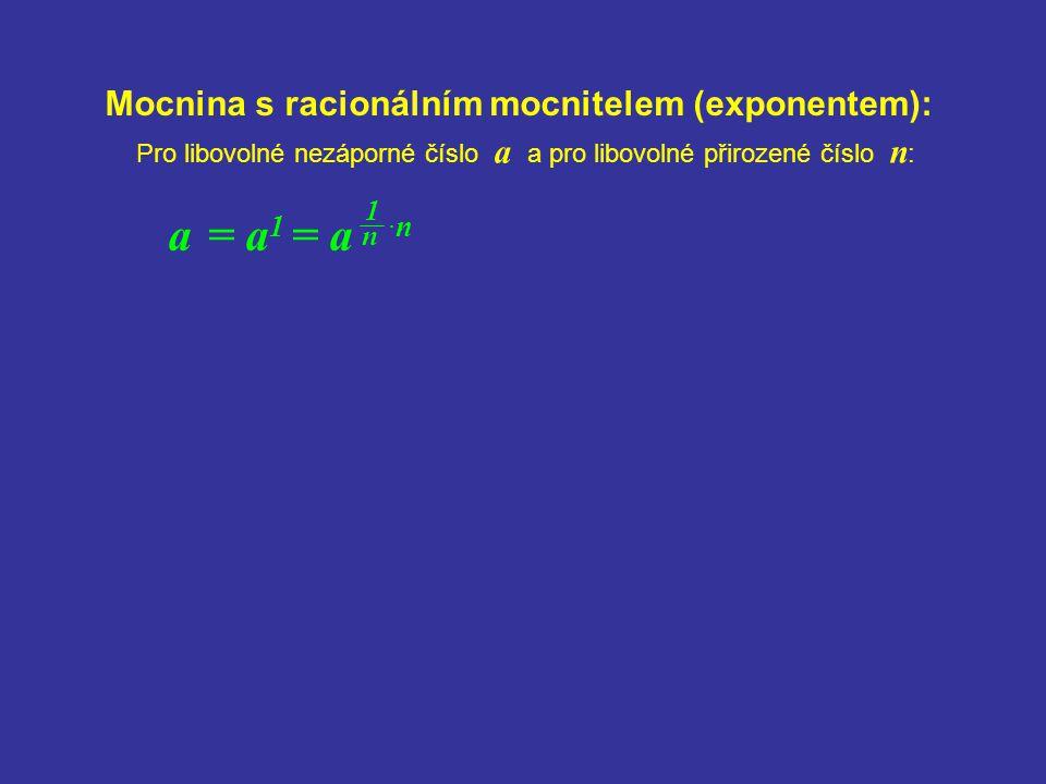 Mocnina s racionálním mocnitelem (exponentem):