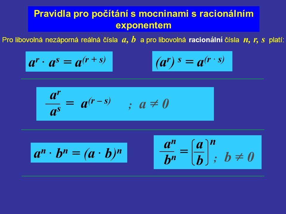 Pravidla pro počítání s mocninami s racionálním exponentem