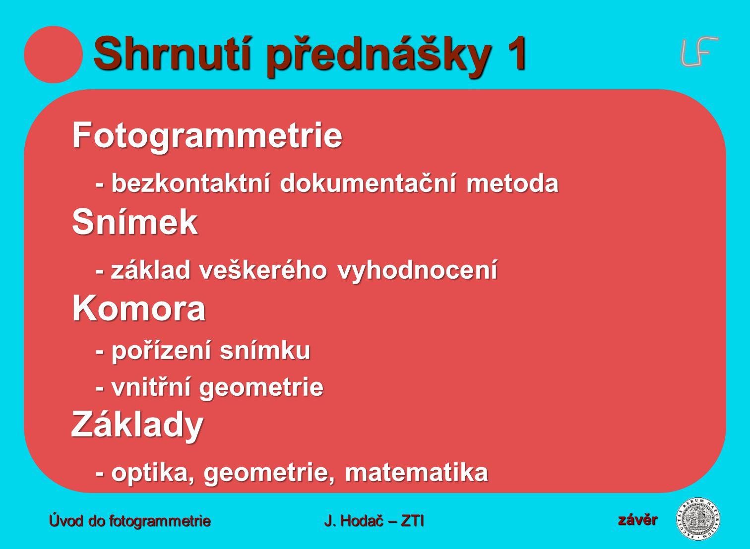 Shrnutí přednášky 1 Fotogrammetrie Snímek Komora Základy