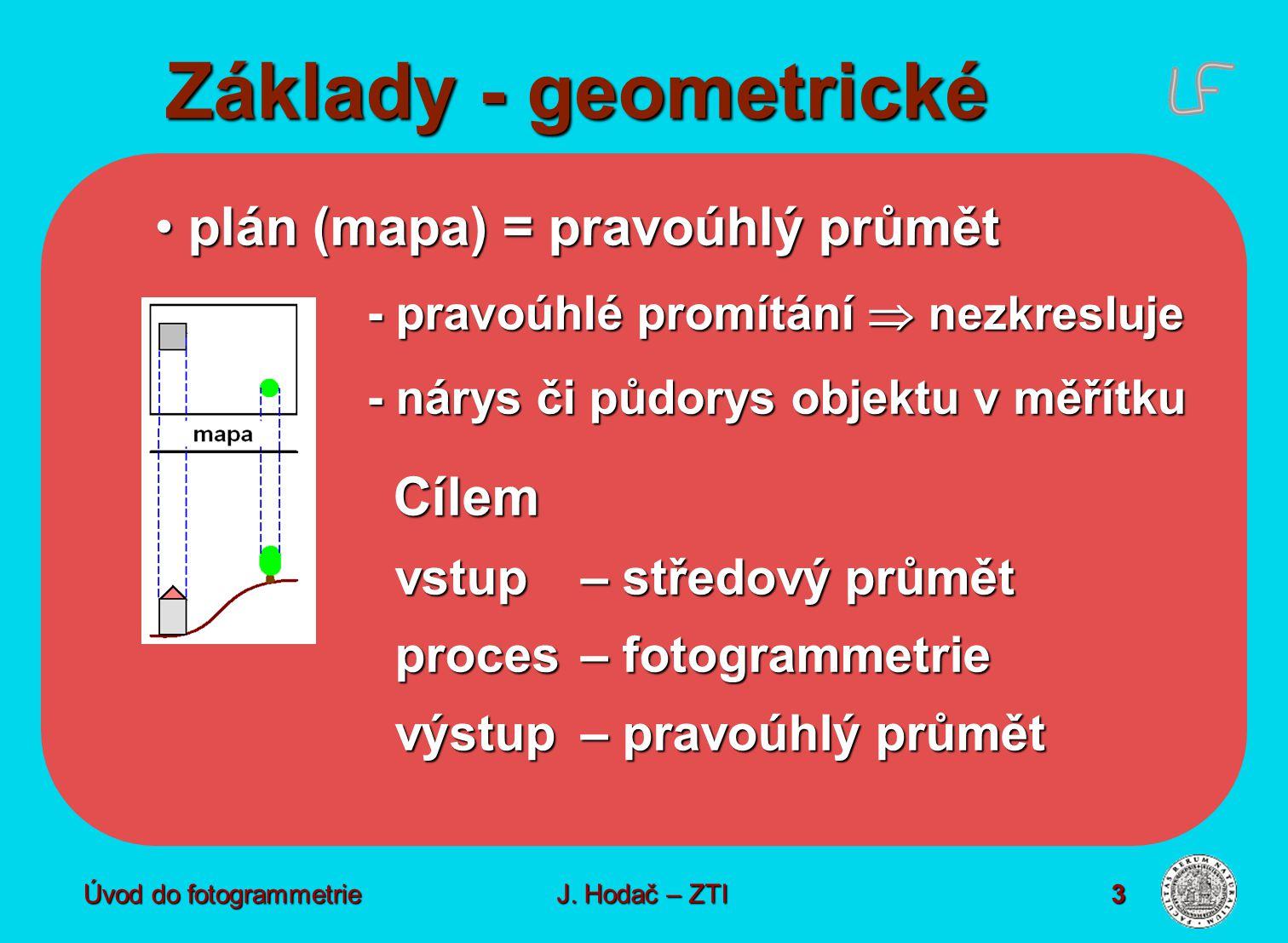 Základy - geometrické plán (mapa) = pravoúhlý průmět