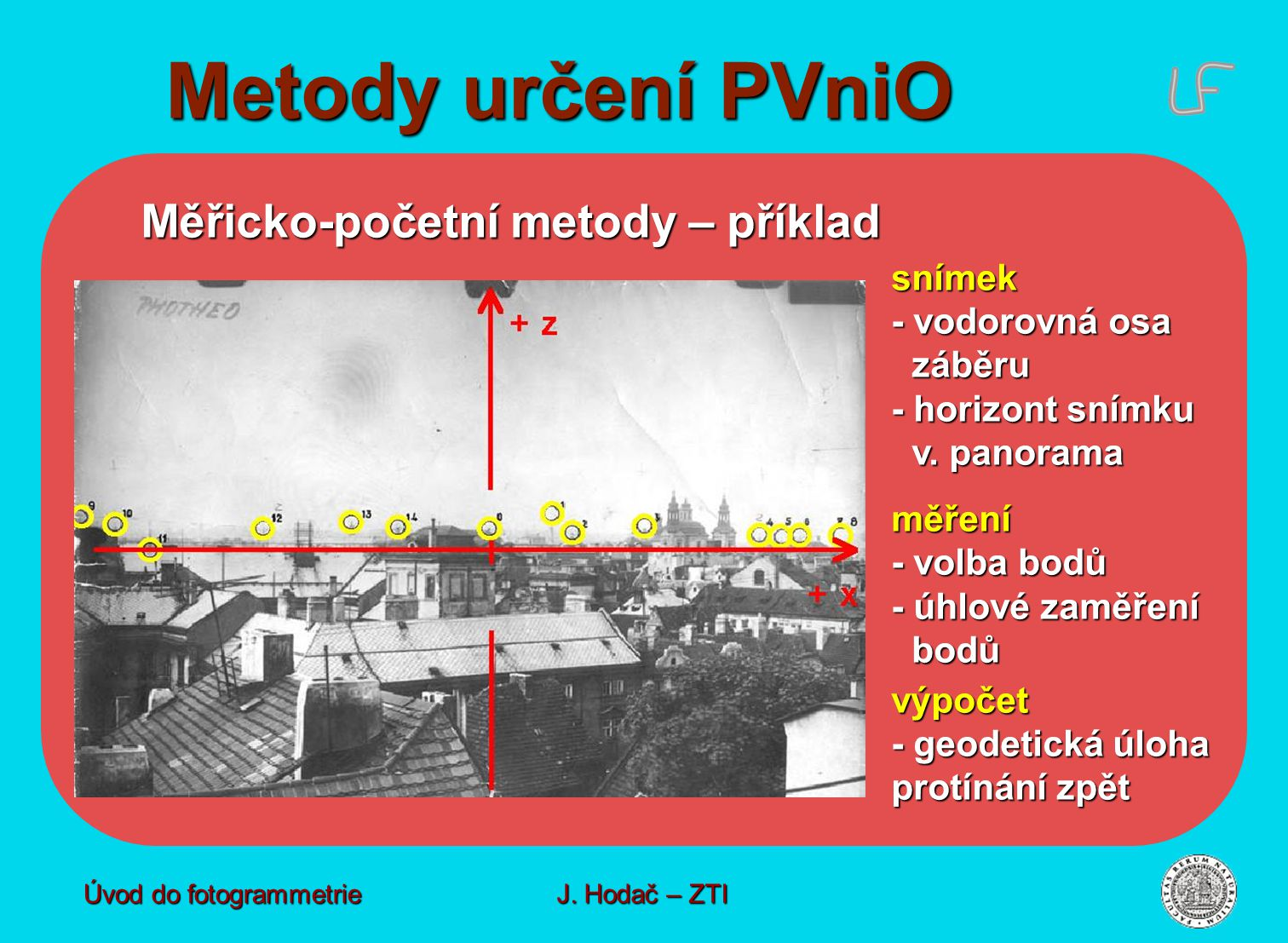 Metody určení PVniO Měřicko-početní metody – příklad - vodorovná osa