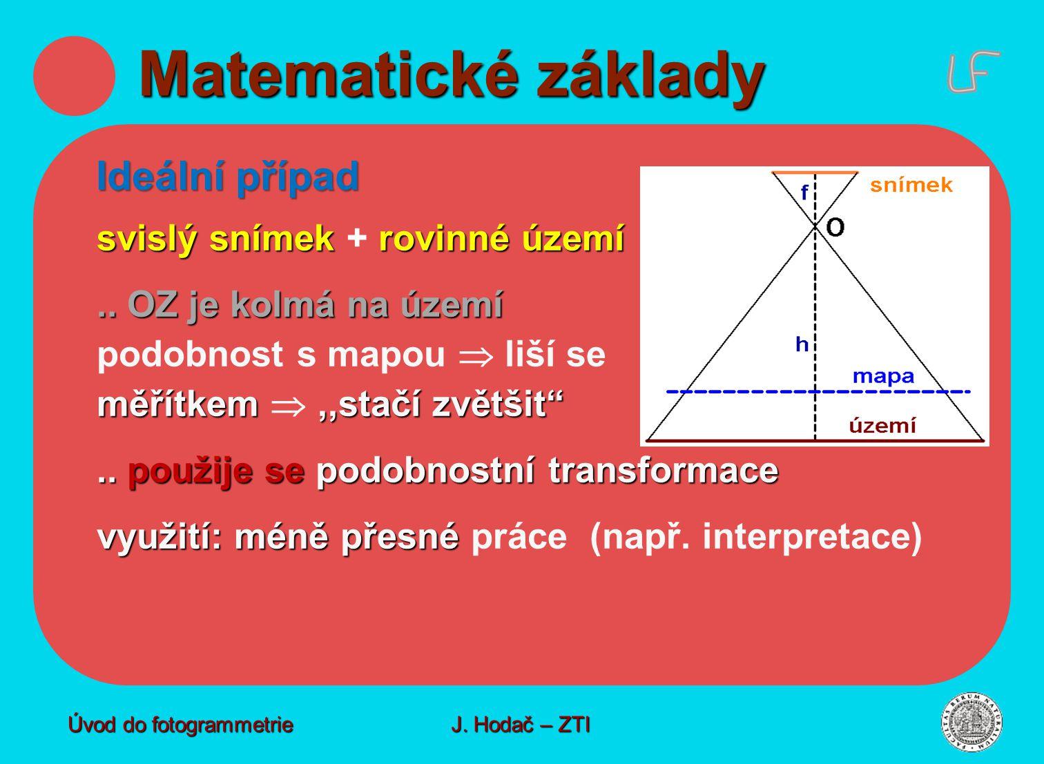 Matematické základy Ideální případ svislý snímek + rovinné území