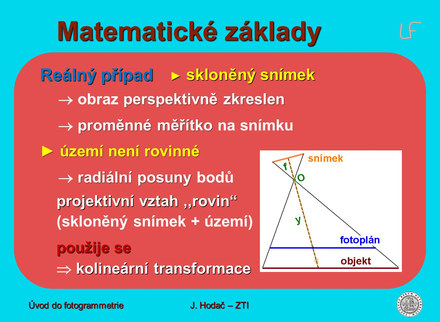 Matematické základy Reálný případ  obraz perspektivně zkreslen