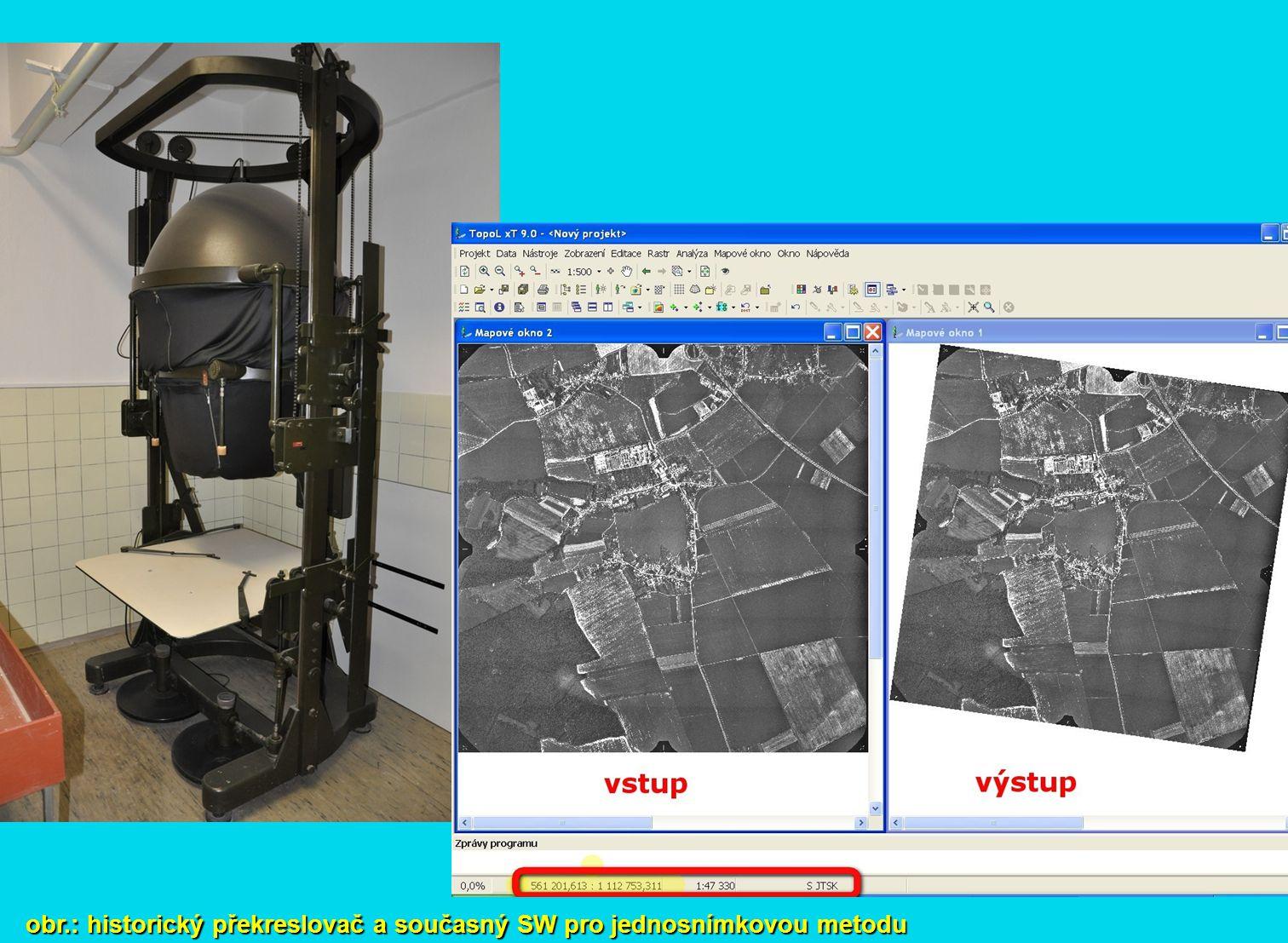 obr.: historický překreslovač a současný SW pro jednosnímkovou metodu