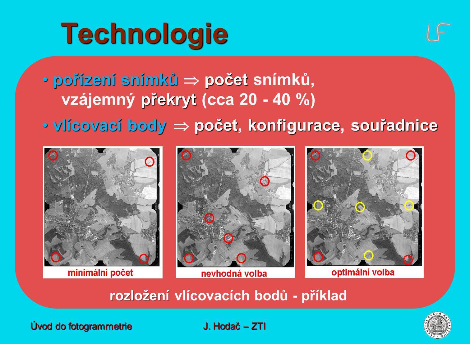 Technologie pořízení snímků  počet snímků, vzájemný překryt (cca 20 - 40 %) vlícovací body  počet, konfigurace, souřadnice.