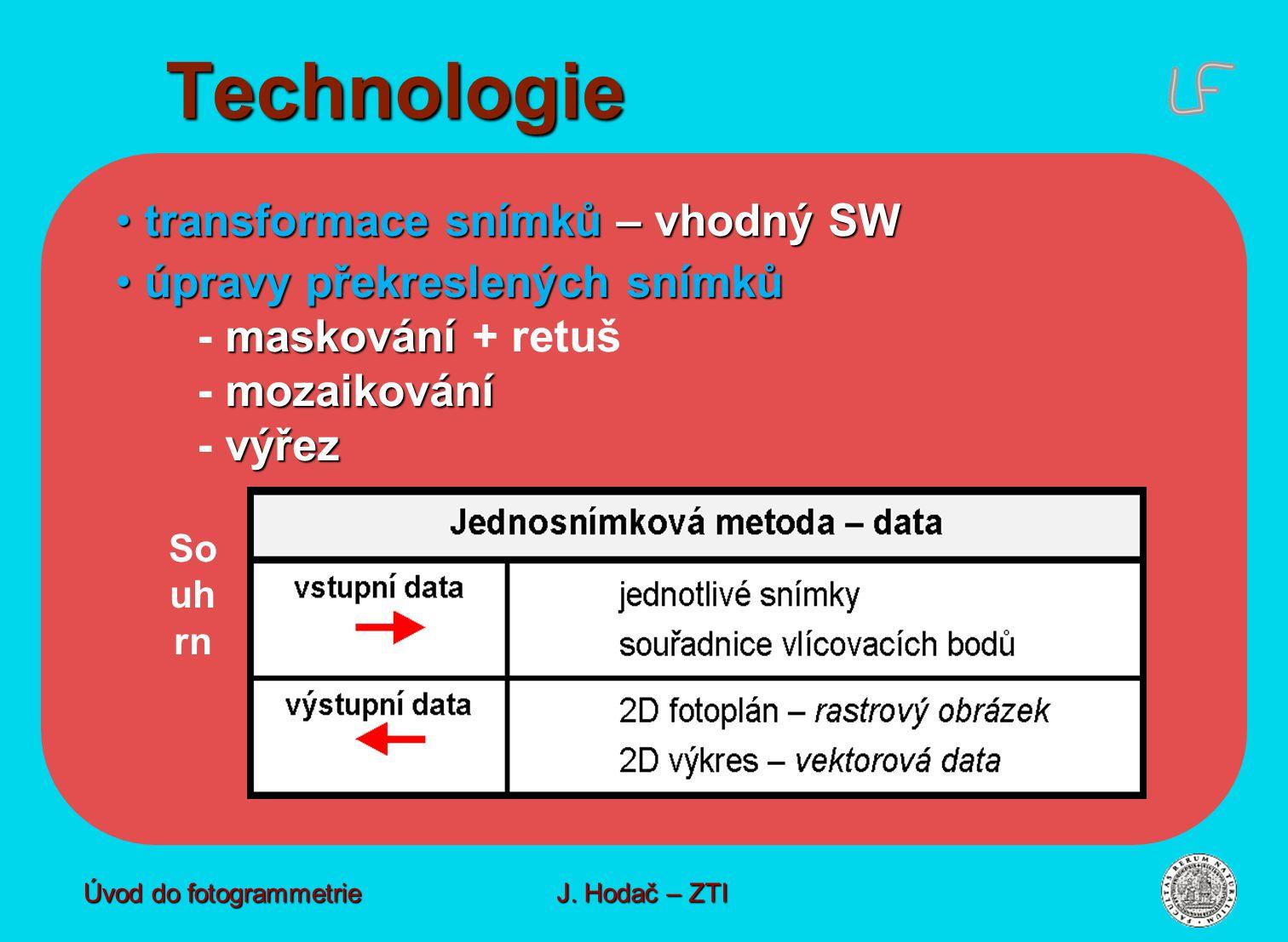 Technologie transformace snímků – vhodný SW