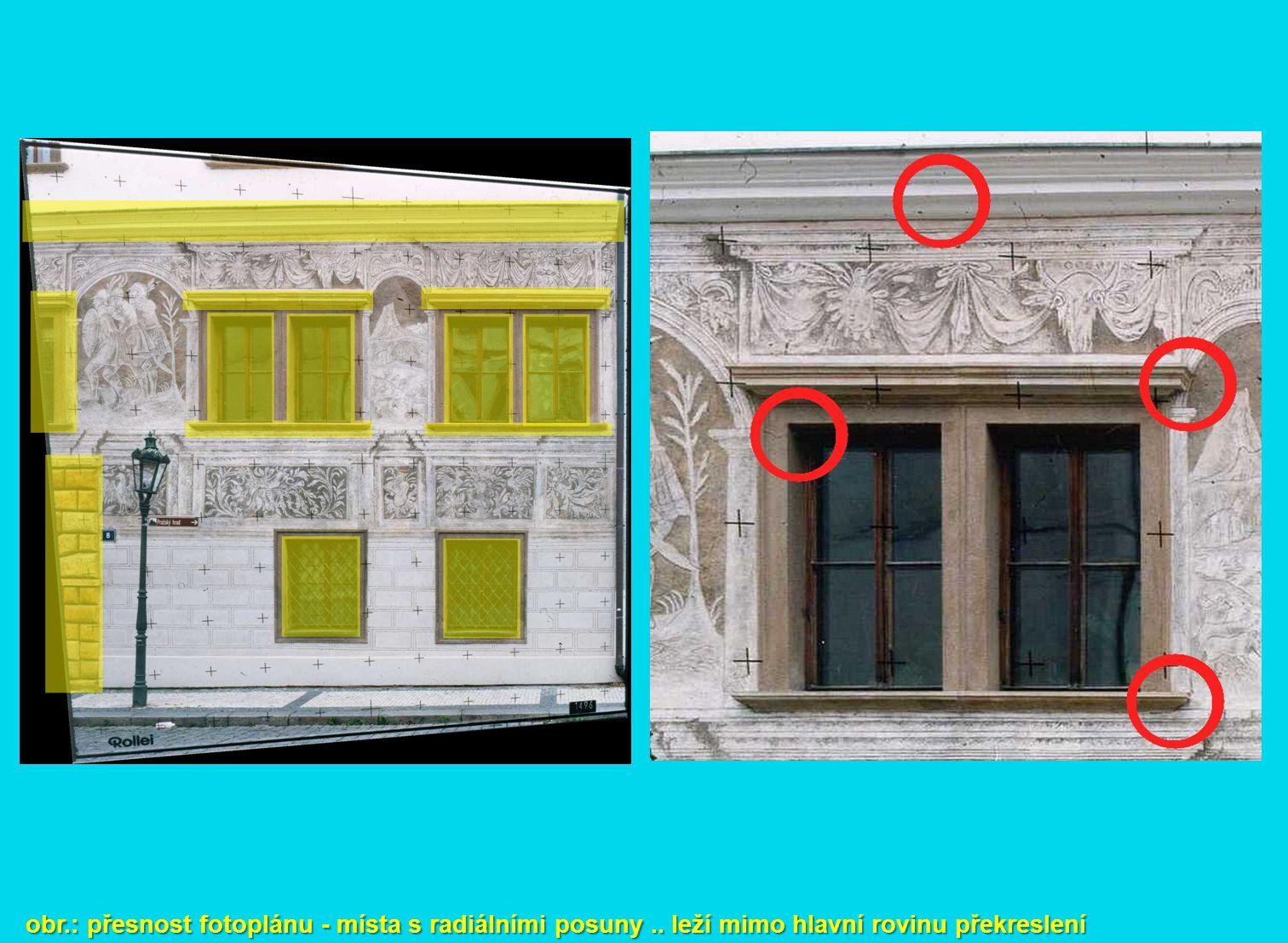 obr. : přesnost fotoplánu - místa s radiálními posuny