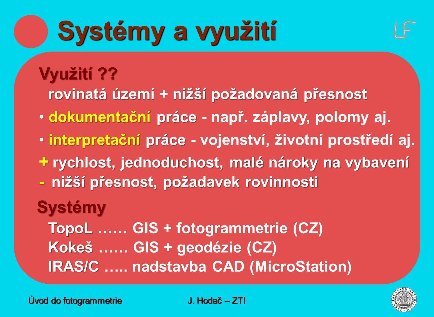 Systémy a využití Využití