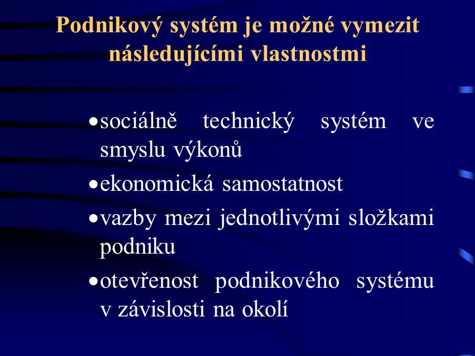 Podnikový systém je možné vymezit následujícími vlastnostmi