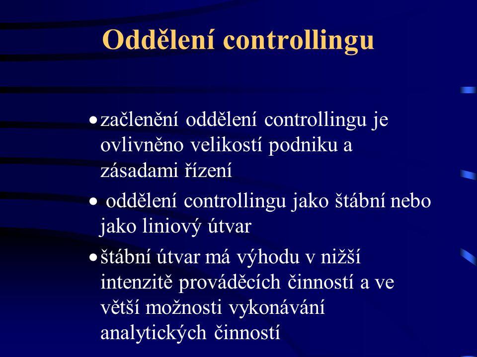 Oddělení controllingu