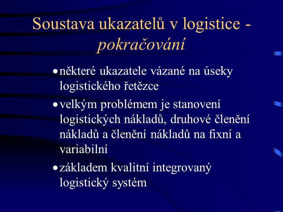 Soustava ukazatelů v logistice - pokračování