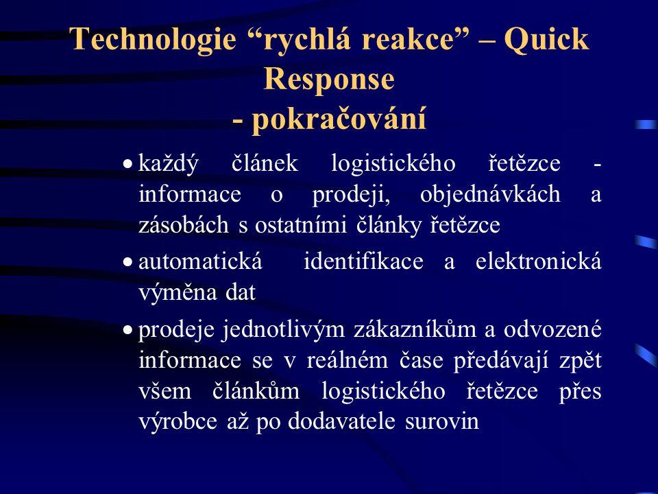 Technologie rychlá reakce – Quick Response - pokračování