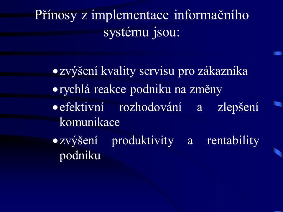 Přínosy z implementace informačního systému jsou: