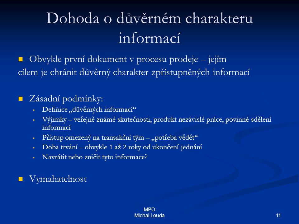Dohoda o důvěrném charakteru informací