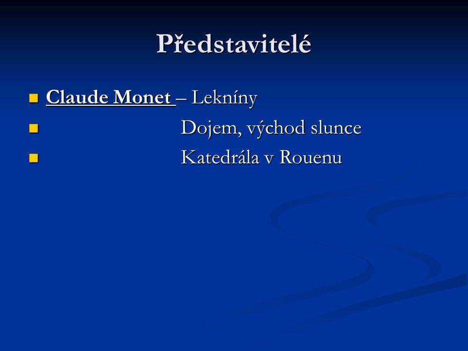 Představitelé Claude Monet – Lekníny Dojem, východ slunce