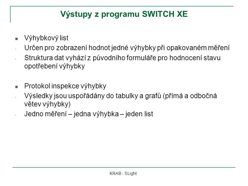 Výstupy z programu SWITCH XE