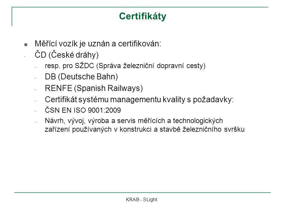 Certifikáty Měřící vozík je uznán a certifikován: ČD (České dráhy)