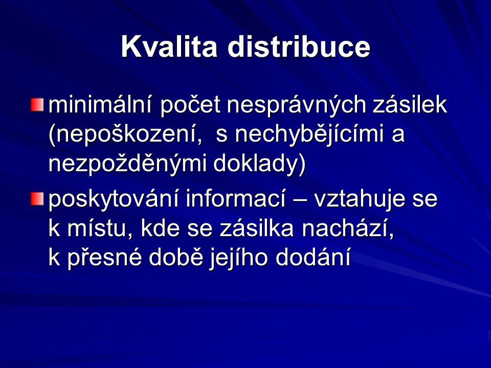 Kvalita distribuce minimální počet nesprávných zásilek (nepoškození, s nechybějícími a nezpožděnými doklady)