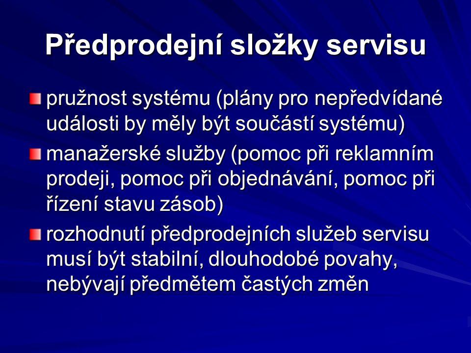 Předprodejní složky servisu
