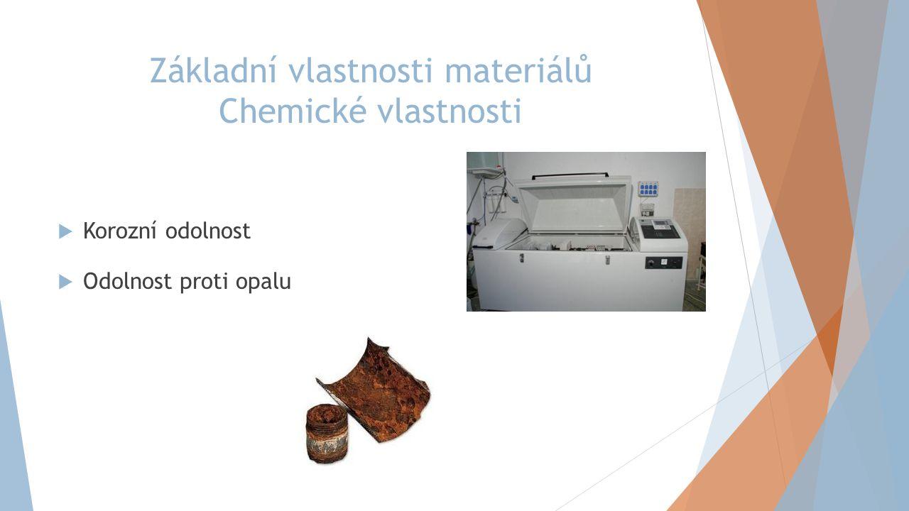 Základní vlastnosti materiálů Chemické vlastnosti