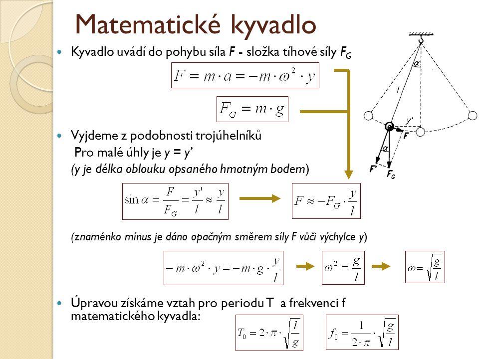 Matematické kyvadlo Kyvadlo uvádí do pohybu síla F - složka tíhové síly FG. Vyjdeme z podobnosti trojúhelníků.
