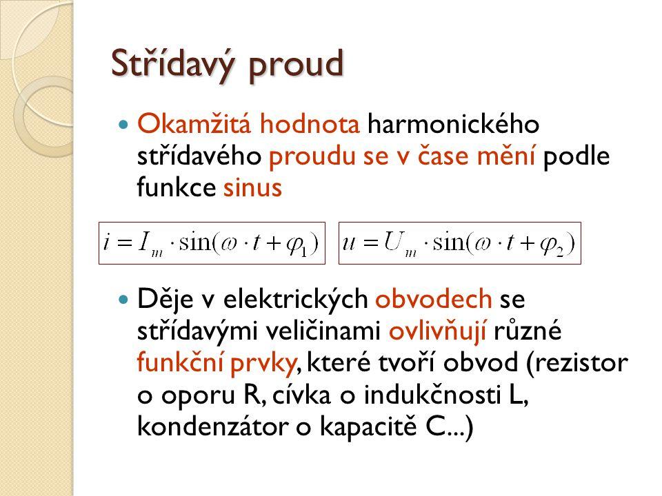 Střídavý proud Okamžitá hodnota harmonického střídavého proudu se v čase mění podle funkce sinus.