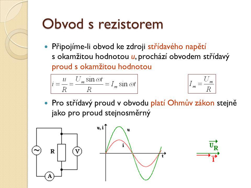 Obvod s rezistorem Připojíme-li obvod ke zdroji střídavého napětí s okamžitou hodnotou u, prochází obvodem střídavý proud s okamžitou hodnotou.