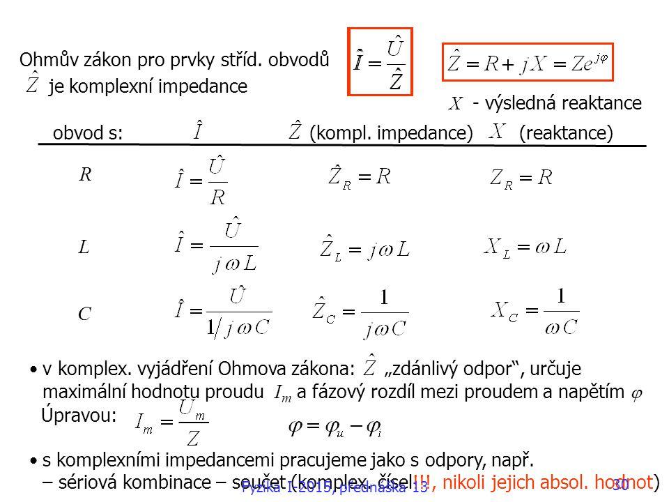 R L C Ohmův zákon pro prvky stříd. obvodů je komplexní impedance