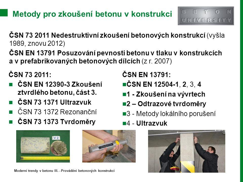 Metody pro zkoušení betonu v konstrukci