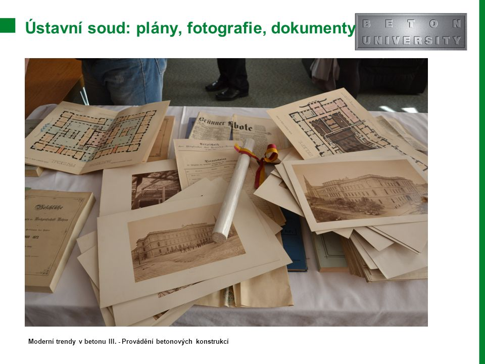 Ústavní soud: plány, fotografie, dokumenty