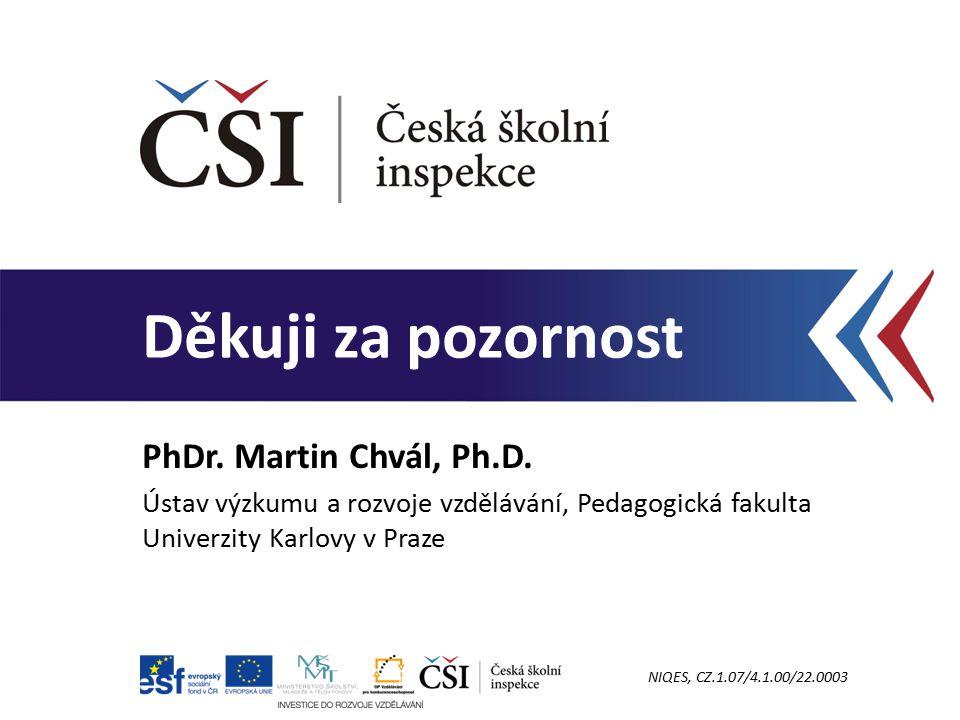 PhDr. Martin Chvál, Ph.D. Ústav výzkumu a rozvoje vzdělávání, Pedagogická fakulta Univerzity Karlovy v Praze.