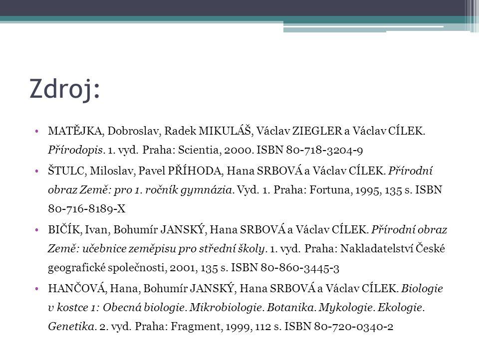Zdroj: MATĚJKA, Dobroslav, Radek MIKULÁŠ, Václav ZIEGLER a Václav CÍLEK. Přírodopis. 1. vyd. Praha: Scientia, 2000. ISBN 80-718-3204-9.