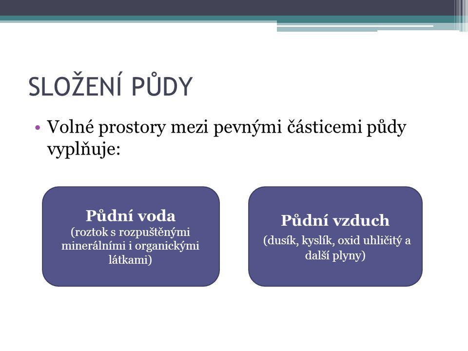 SLOŽENÍ PŮDY Volné prostory mezi pevnými částicemi půdy vyplňuje: