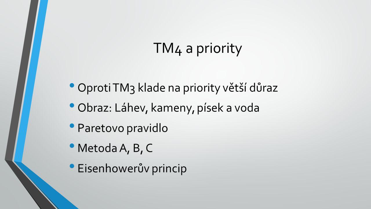TM4 a priority Oproti TM3 klade na priority větší důraz