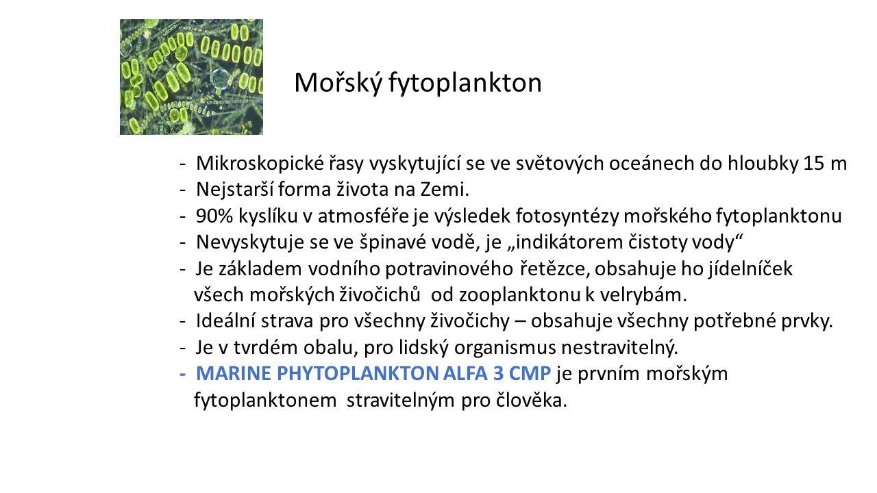 Mořský fytoplankton - Mikroskopické řasy vyskytující se ve světových oceánech do hloubky 15 m. - Nejstarší forma života na Zemi.