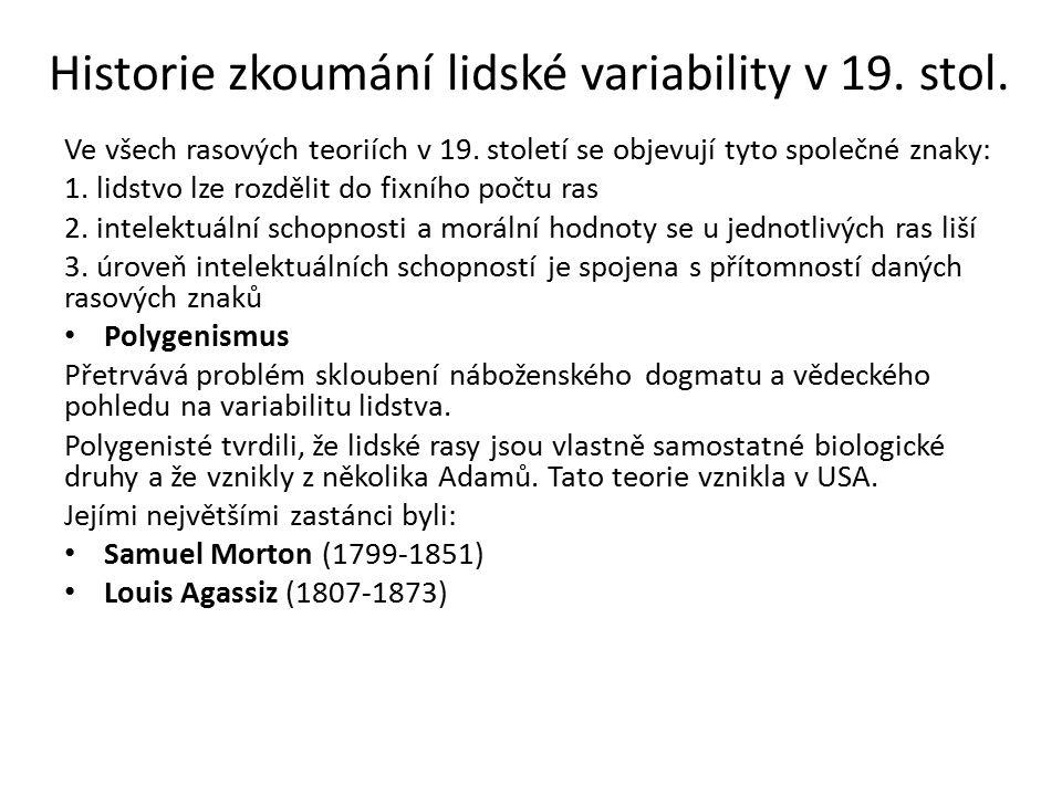 Historie zkoumání lidské variability v 19. stol.
