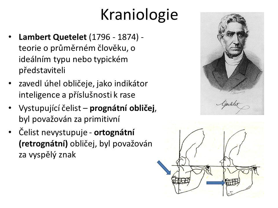 Kraniologie Lambert Quetelet (1796 - 1874) - teorie o průměrném člověku, o ideálním typu nebo typickém představiteli.