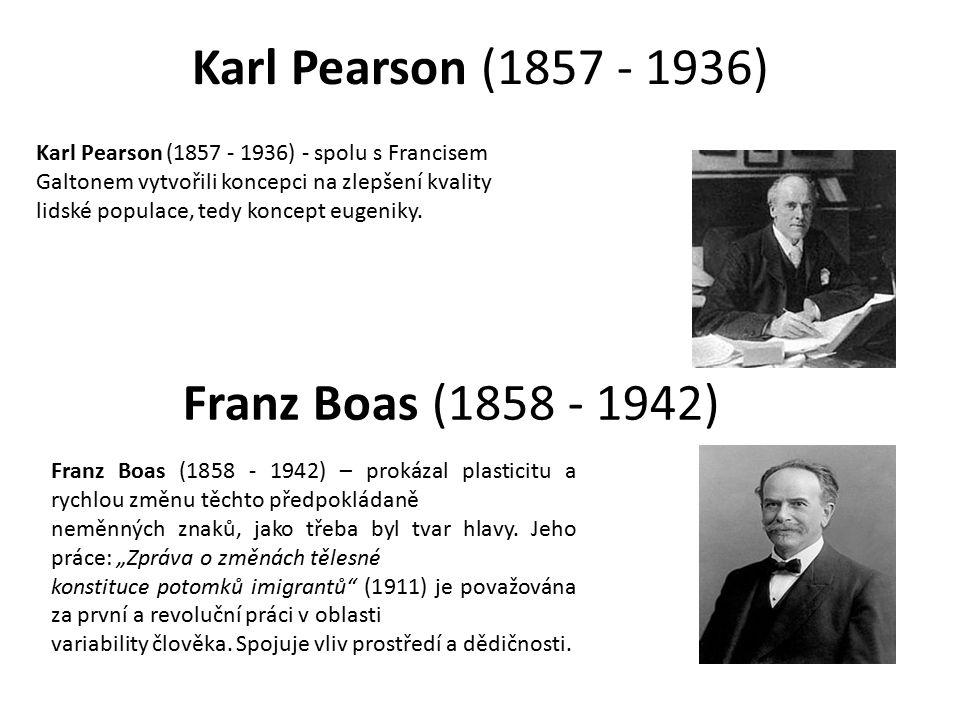 Karl Pearson (1857 - 1936) Franz Boas (1858 - 1942)