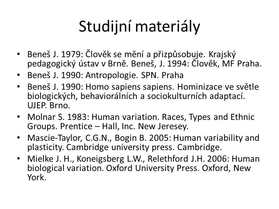 Studijní materiály Beneš J. 1979: Člověk se mění a přizpůsobuje. Krajský pedagogický ústav v Brně. Beneš, J. 1994: Člověk, MF Praha.