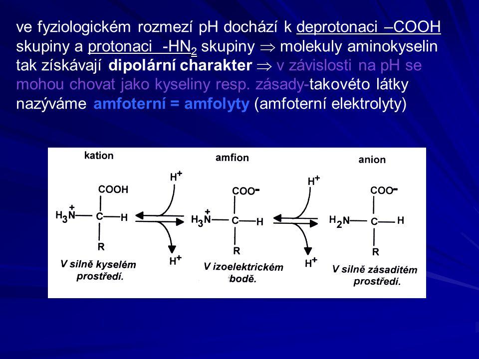 ve fyziologickém rozmezí pH dochází k deprotonaci –COOH skupiny a protonaci -HN2 skupiny  molekuly aminokyselin tak získávají dipolární charakter  v závislosti na pH se mohou chovat jako kyseliny resp.