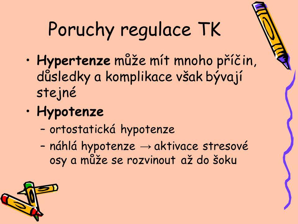 Poruchy regulace TK Hypertenze může mít mnoho příčin, důsledky a komplikace však bývají stejné. Hypotenze.