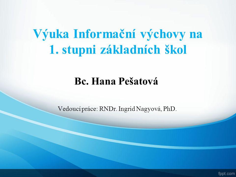 Vedoucí práce: RNDr. Ingrid Nagyová, PhD.