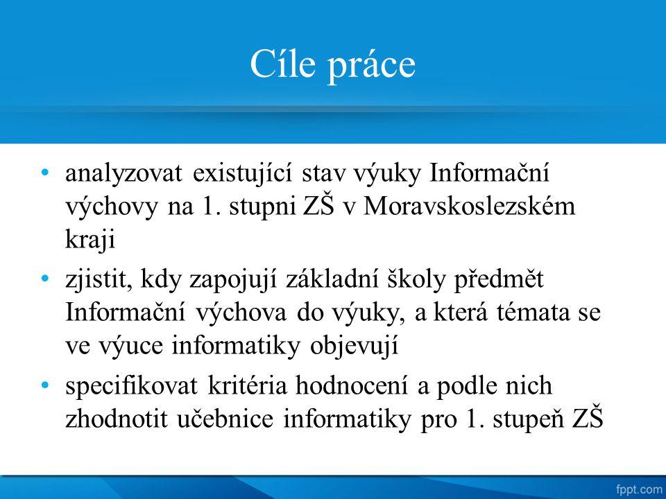 Cíle práce analyzovat existující stav výuky Informační výchovy na 1. stupni ZŠ v Moravskoslezském kraji.